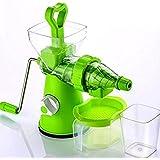Kitchen Bazaar™ Elite Jumbo Fruit & Vegetable Premium Manual Hand Juicer Mixer Grinder With Steel Handle, Juice Collector & Waste Collector, Green