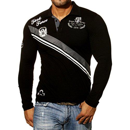 Rusty Neal Herren Langarm longsleeve Polo Style Poloshirt Sweatshirt RN-526 Schwarz
