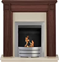 Adam Georgian Fireplace Suite in Mahogany with Colorado Bio Ethanol Fire in Brushed Steel, 39 Inch