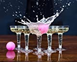 Set of 12 Plastic Champagne Glasses and 4 Ping Pong Balls, Upmarket Beer Pong Game