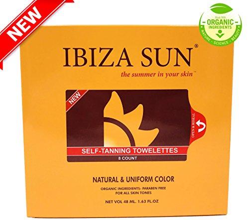 Ibiza Sun Toallitas Autobronceadoras Orgánicas y Naturales.Libres de Parabenos, Aptas para Veganos,Sin Perfume. Color de verano en solo 3 horas y por varios dias.Pack de 8 unidades