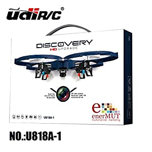 enerMUT - UDI U818A-1 PRO HD QUADROCOPTER MIT HD KAMERA 2,4 GHZ - PRO HD Edition - 4.5 Kanal, 2.4GHz - AKKU WARNER - Mega-Ersatzteil-Set, Ready-to-Fly + 3 St. ZUSATZAKKU 4 ST. AA Batterie