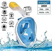 Innoo Tech Full Face Snorkeling Mask, 180° Seaview Scuba Diving Snorkel Mask for Kids Adult, Snorkeling Mask F
