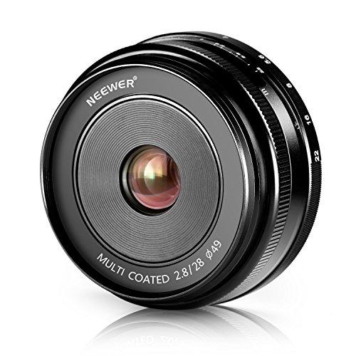 Neewer® 28mm f/2.8 Focus Manuale Obiettivo Fisso Primario per Fotocamere Digitali FUJIFILM APS-C, come X-A1/A2, X-E1/E2/E2S, X-M1, X-T1/T10, X-Pro1/Pro2 (NW-FX-28-2.8)