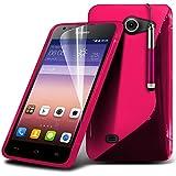 (Pink) Huawei Ascend Y550 Stylish Designed Case S Linie Wellen-Gel-Haut-Abdeckung mit LCD-Display Schutzfolie, Reinigungstuch & Mini Retractable Stylus Pen von Fone-Fall