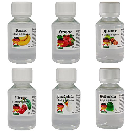 EMIUM E-LIQUID für E-Zigarette Banane - Erdbeere - Haselnuss - Kirsche - Pina Colada - Waldmeister (0,0 mg Nikotin) VanAnderen® ()