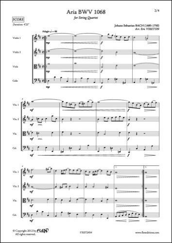 PARTITION CLASSIQUE - Aria BWV 1068 - J. S. BACH - Quatuor à Cordes