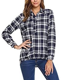 Zeagoo Womens Casual Long Sleeve Plaid Shirt Turn-Down Collar Asymmetric Loose Blouse Tops