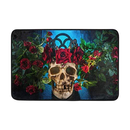 Miedhki Skull Flower Rose Zerbino Tappeto per Esterni Coperta Mat Poliestere per Sala da Pranzo Soggiorno Dormitorio Cucina Camera da Letto Giardino Decorativo, 15.7x23.6 Pollici