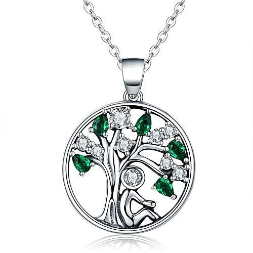 Das Leben Baum Halskette 925 Sterling Silber Halskette Frauen/Mädchen Halskette Zirkonia Feiertagsgeschenk Für Frauen Für ()