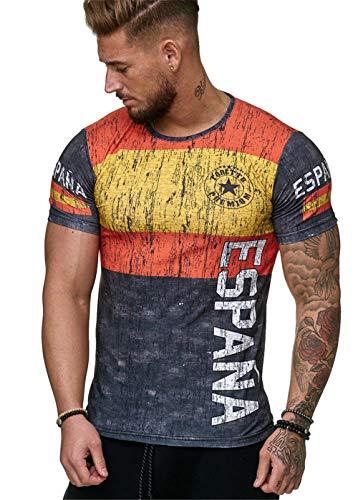 Camisetas Manga Corta Hombre Bandera España Impresión