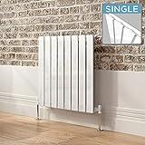 iBathUK   600 x 600 mm White Column Designer Radiator Horizontal Single Flat Panel