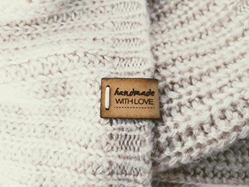 - Leder-tag (Handgefertigte Lederetiketten E | 15 Stück | Exklusive gravierte echte italienische Leder-Tags | Handmade leather labels tags)