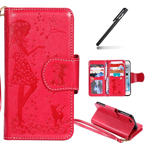 Coque Etui pour Apple iPhone 6/6S, iPhone 6S Coque Portefeuille PU Cuir Etui,iPhone 6 Coque de Protection en Cuir Folio Housse,iPhone 6/6S Leather Case Wallet Flip Protective Cover Protector, Ukayfe E Fille Chat-Rouge