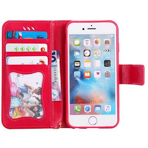 EUWLY Case Cover per iPhone 6/6s (4.7) Custodia Portafoglio PU Pelle Nottilucenti Luminosa Elegante Ragazza e Gatto con Fiori Farfalla Modello Premium Morbido PU Leather Wallet Custodia Case Supporto Rosa Rossa