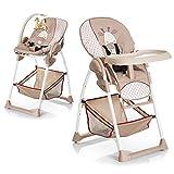 Hauck Sit'N Relax–Chaise haute avec plateau et panier, convertible en fauteuil à bascule pour bébé, couleur beige