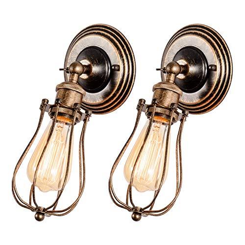 Bronze-metall-wandleuchte (Wandlampe Vintage, Verstellbar Metall Wandleuchte Retro Industrial Style Deckenlampe Öl Gerieben Bronze Lampen für Schlafzimmer Wohnzimmer Esstisch 2 Pack(Glühbirne Nicht Enthalten))