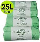 All-Green - Sacchi biodegradabili da 25 litri, 100 pz, per cucina/umido, EN 13432, guida al compostaggio inclusa, per pattumiere a pedale