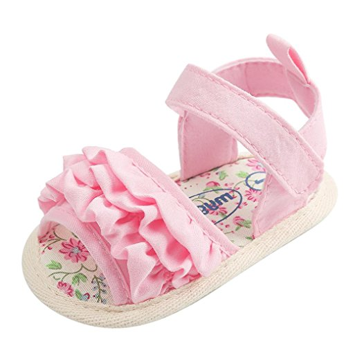 LuckyGirls Chaussures de Bébé Chaussures de Bébé Sandales,LuckyGirls Joli Bébé Fille Fleur Sandales Anti-Dérapant Doux Unique Sneaker - Tissu Coton - 0~18 Mois (Âge: 6~12 Mois, Rose)