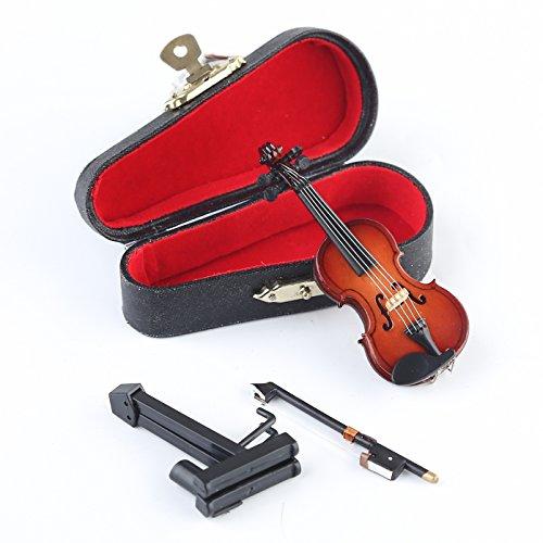 """Seawoo Holz Miniatur Violine mit Ständer, Schleife und Fall Mini Musikinstrument Miniatur Puppenhaus Modell Home Dekoration 3.15""""x1.18""""x0.59"""""""