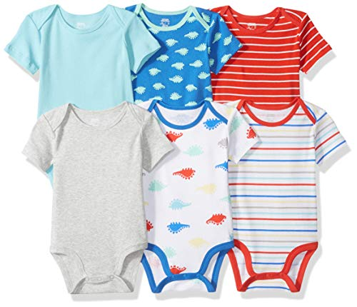 Amazon Essentials 6-Pack Short-Sleeve Bodysuit infant-and-toddler-layette-sets, Boy Dino, 6-9M Baby Boy Layette Set