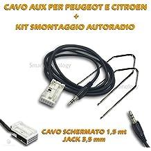 Cable de audio AUX IN para radio Citroen Peugeot + Kit llaves extracción Desmontaje entrada jack 3,5mm apantallado longitud 150cm para iPhone Samsung MP3