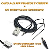 Kabel Audio Aux In für Autoradio Citroen Peugeot + Kit Schlüssel Extraktion Demontage Eingang Jack 3,5 mm Geschirmt Länge 150 cm für iPhone Samsung MP3