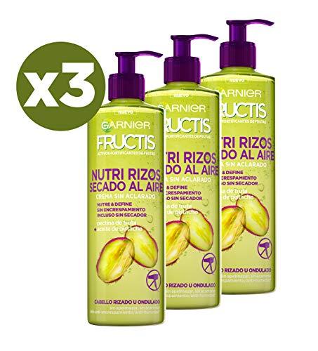 Garnier Fructis Nutri Rizos Secado al Aire Crema Sin Aclarado para Pelo Rizado u Ondulado - 3 Unidades x 400 ml