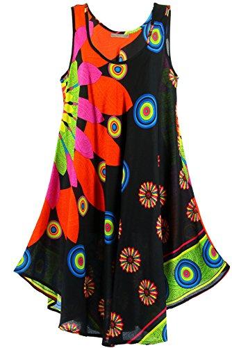 Charleselie94® Robe été ample bohème grandes tailles noir MEXICO Noir