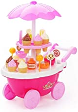 W Retails Sweet Shop Cart Kitchen Cart Battery Operated with Music & Led Lights Ice Cream Trolley Shop Set for Kids, Pink
