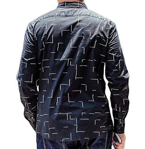 Business Casual Herren-Langarmhemd Größe Shirt Baumwollhemd Herbst Black