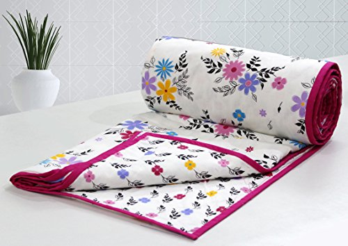 AURAVE Multicolor Reversible Floral Pattern 1 pc Cotton Dohar - PINK - Single Size (Gift Packed)