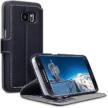 Galaxy S7 Case, Terrapin Leder Tasche Case Hülle im Bookstyle mit Standfunktion Kartenfächer für Samsung Galaxy S7 Hülle Schwarz