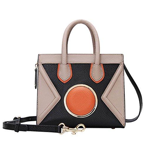 Mena Uk Sacchetti del messaggero del sacchetto di spalla della borsa del fronte di cuoio dell'annata delle donne Nero