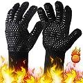 BUDDYGO Grillhandschuhe Ofenhandschuhe Grill Lederhandschuhe Hitzebeständige bis zu 800 ° C Universalgröße Kochhandschuhe Backhandschuhe für BBQ Kochen Backen und Schweißen, mit Einer Grillzange