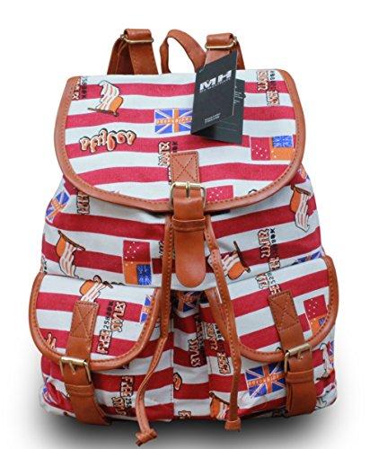 Rucksack Shopper Canvas-Tasche mit Print Schulranzen Schulter Handtasche Rucksack Print , Modell:Modell 19 Modell 33