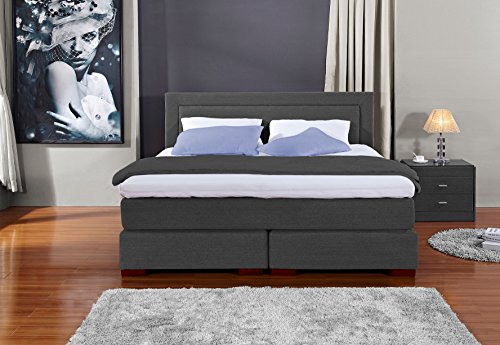 Designer Boxspringbett Los Angeles, Made in Germany, Tonnentaschenfederkern in der Box UND in der 7-Zonen Matratze, Visco Topper, Anthrazit, H2/H3, 180x200cm