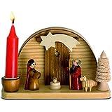 Belén de Navidad de madera con vela