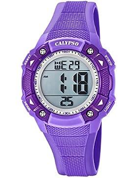 Calypso Armbanduhr für Damen Sport Digital for Woman - K5728/5 - PU-Armband lila Quarz-Uhr UK5728/5