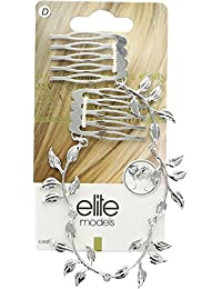 Elite Models (France) Prestige Series Side And Back Comb, Back Hairpin, Hair Ornament / Slde Pin / Hair Piece For Women ( Silver ) | Latest Designs Imported Party Wear Girls Accessories, Designer Decoration Clips, New Style Grips, Jewelry Pins To Tie Up Long or Short Hairs