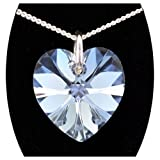 14MM Diamond White Genuine Swarovski Heart Crystal 925 Silver Necklace 16', 18', 20' or Pendant only