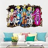 Autocollants muraux 3D de Dragon Ball dessin animé trou Sun Guko Super Saiyan imperméables décorative papier peint 60x90cm