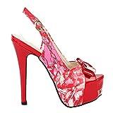 Zeigen Sie Geschichte Glam Floral Bow Peep Toe Slingback Stiletto doppelte Plattform Pumpe, LF80904