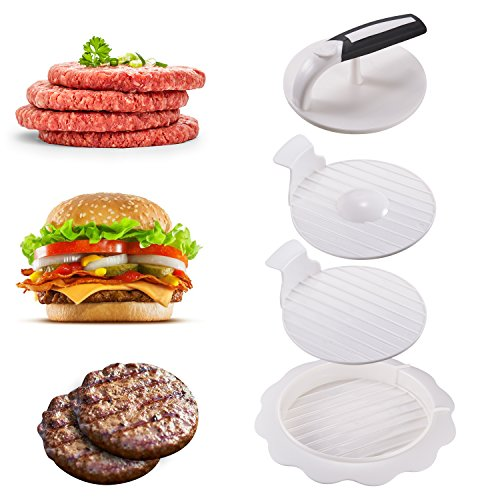 Burgerpresse Burger Patties Maker Hamburgerpresse mit Patty-Hebevorrichtung und gefüllte hamburgerpresse Ideal für Burger Hamburger Cheeseburger Patties Presse Beste Küche Grillen Zubehö BBQ