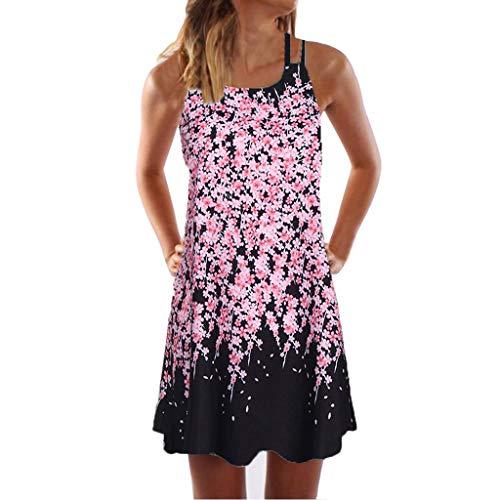 KItipeng Damen Bohemia Ärmellos Strandkleid Rundhals Blumendruck Sommerkleid Schulterfrei Beiläufig Sexy A-Linie - Sexy Kostüm Mulan