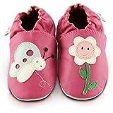 Snuggle Feet - Chaussons Bébé en Cuir Doux - Fleur et Papillon