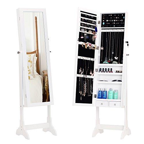BASTUO Schmuckschrank Spiegelschrank Schmuckregal abschließbarer Schmuckorganizer Winkel Einstellbar mit extra breiter Spiegel 2 Schubladen Weiß