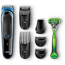 Braun Multigrooming-SetMGK3040, 7-In-1 Präzisionstrimmer Für Bart und Haar. Mit Gillette Body Rasierer, schwarz/blau