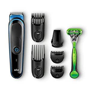 Braun Multi Grooming Kit MGK3040 7-in-1 Precision Trimmer for Beard and Hair Styling with Gillette Body Razor, Black/Blue