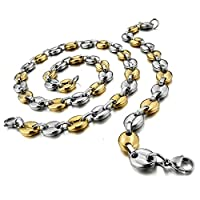 Stainless Steel Men Necklace - Bracelet RolLink Set Punk Rock Silver Gold - Adisaer